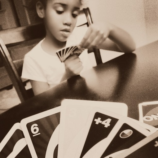 Playing UNO with my daughter.